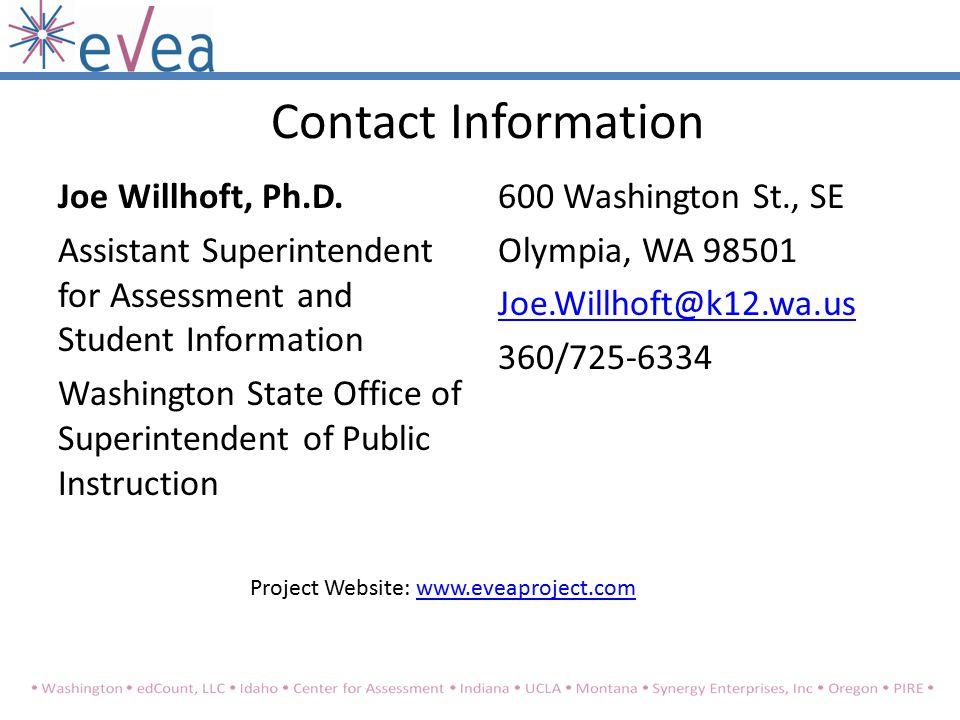 Contact Information Joe Willhoft, Ph.D.