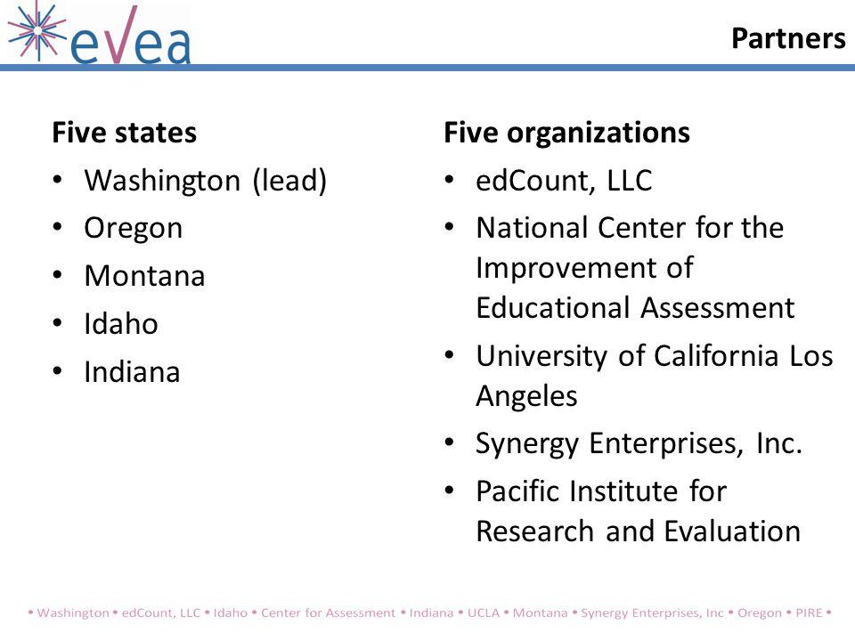 Five states Washington (lead) Oregon Montana Idaho Indiana Five organizations edCount, LLC National Center for the Improvement of Educational Assessment University of California Los Angeles Synergy Enterprises, Inc.
