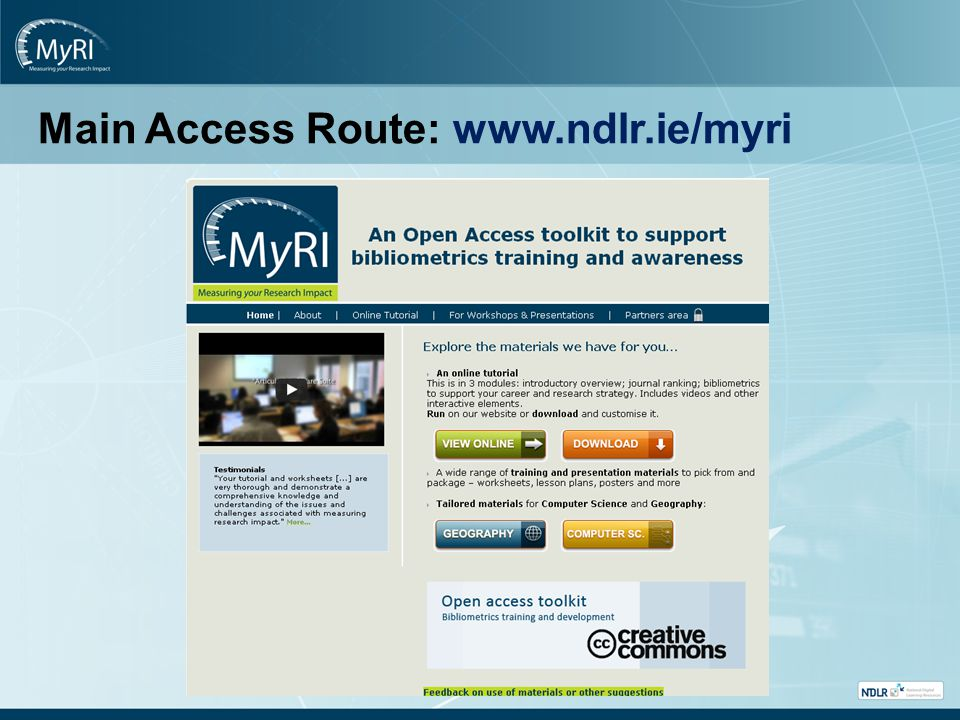 Main Access Route: www.ndlr.ie/myri