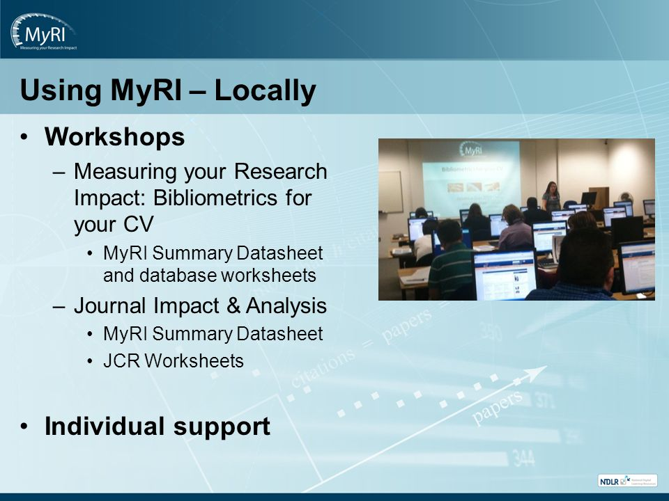 Using MyRI – Locally Workshops –Measuring your Research Impact: Bibliometrics for your CV MyRI Summary Datasheet and database worksheets –Journal Impact & Analysis MyRI Summary Datasheet JCR Worksheets Individual support