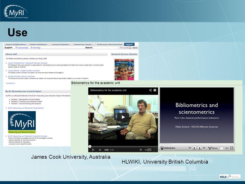 Use James Cook University, Australia HLWIKI, University British Columbia