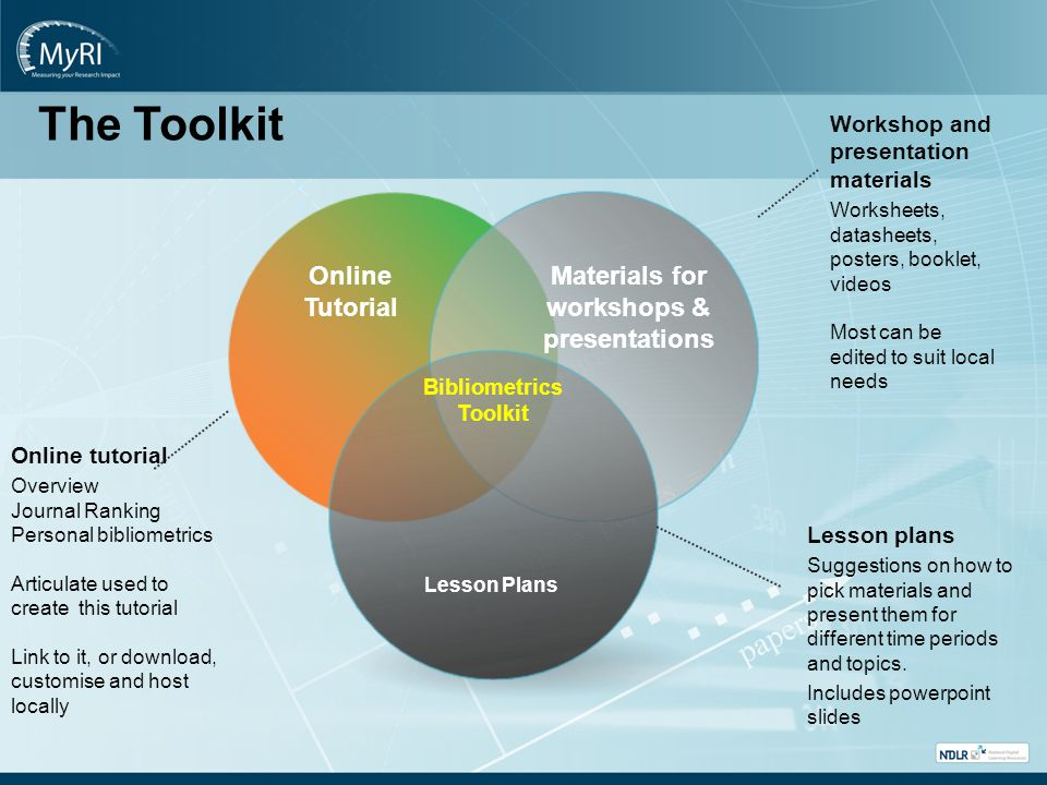 Bibliometrics Toolkit Materials for workshops & presentations Lesson Plans Online Tutorial Lesson plans Suggestions on how to pick materials and present them for different time periods and topics.