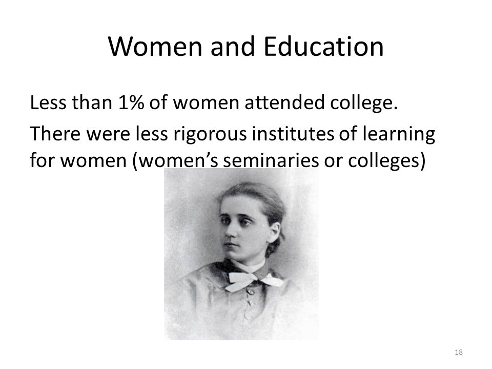 Women and Education Less than 1% of women attended college.