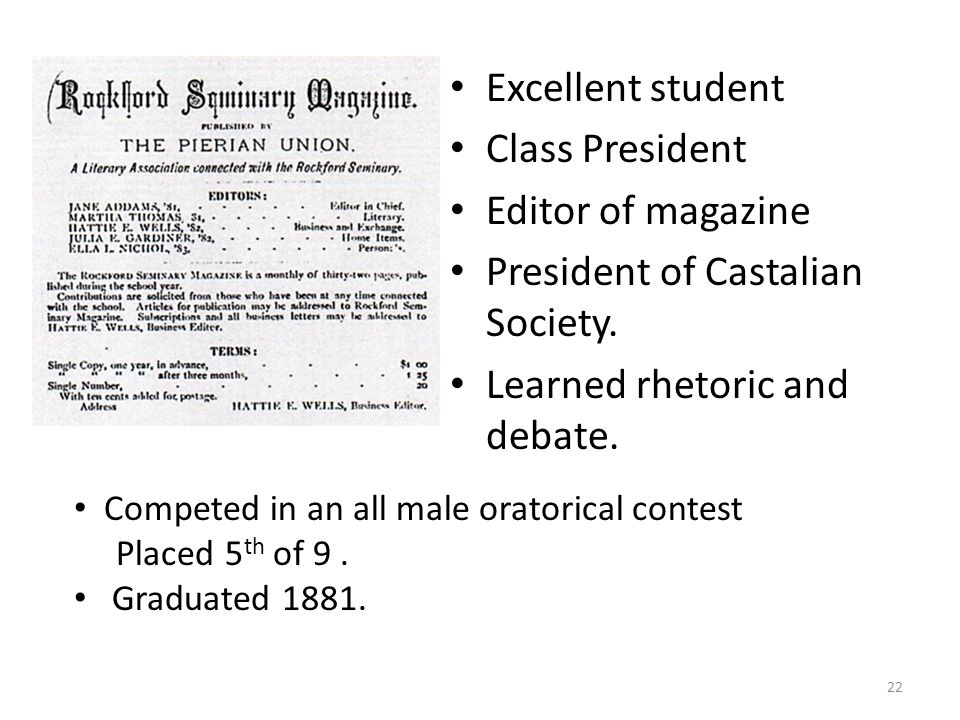 Excellent student Class President Editor of magazine President of Castalian Society.