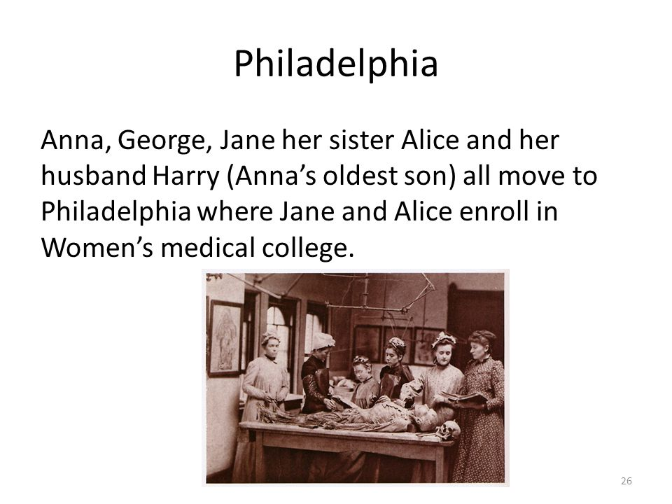 Philadelphia Anna, George, Jane her sister Alice and her husband Harry (Anna's oldest son) all move to Philadelphia where Jane and Alice enroll in Women's medical college.