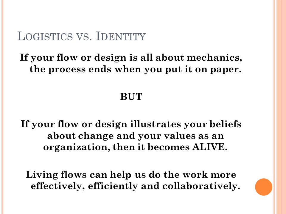 L OGISTICS VS.I DENTITY Some questions to ask at the start: How does change happen.