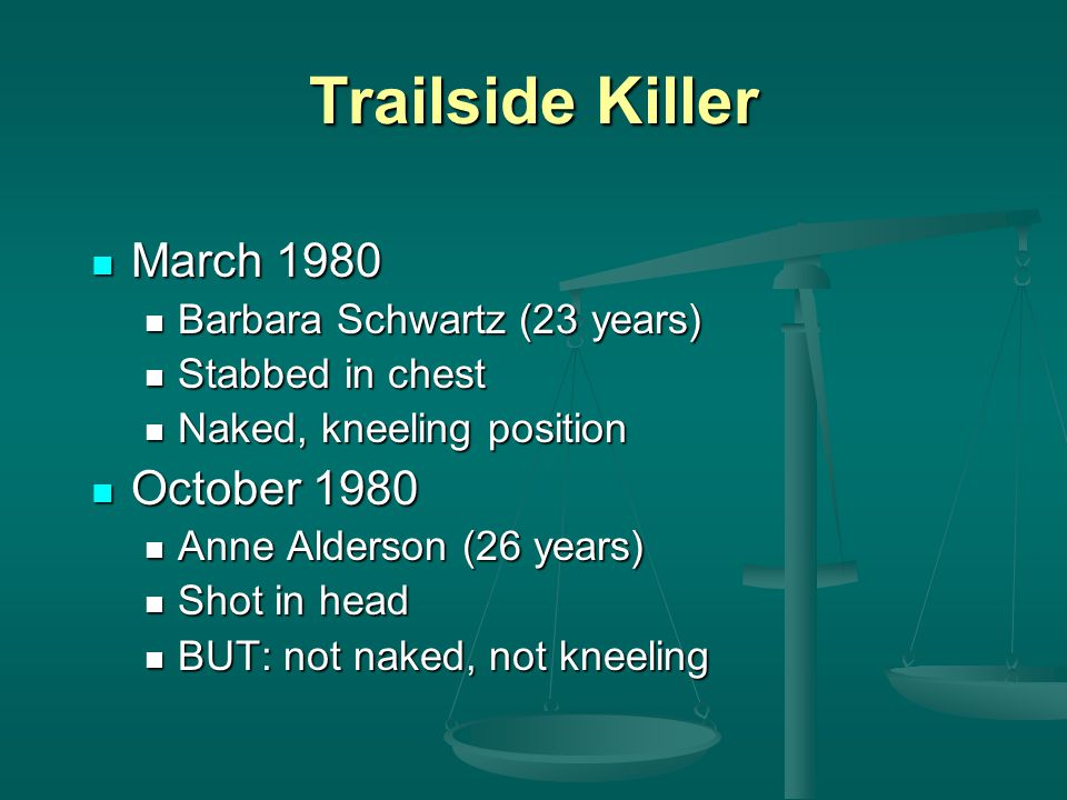 Trailside Killer March 1980 March 1980 Barbara Schwartz (23 years) Barbara Schwartz (23 years) Stabbed in chest Stabbed in chest Naked, kneeling posit