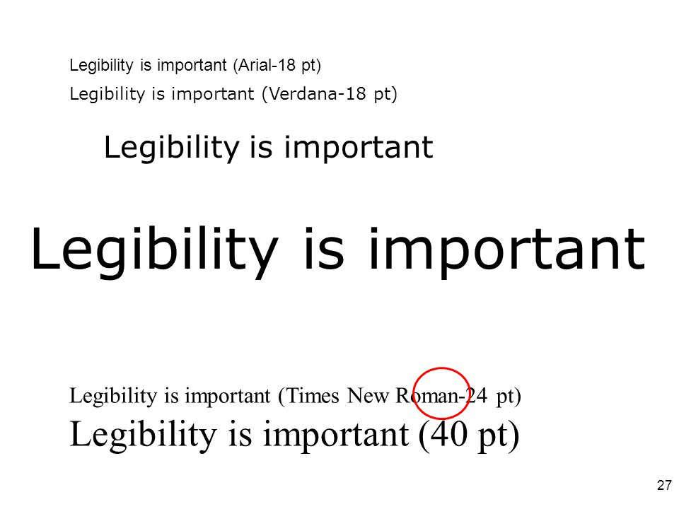 Legibility is important (Arial-18 pt) Legibility is important Legibility is important (Times New Roman-24 pt) Legibility is important (Verdana-18 pt)