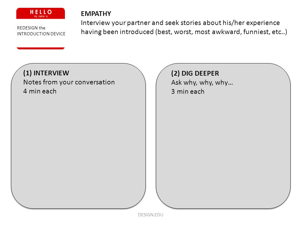 DESIGN.EDU REDESIGN the INTRODUCTION DEVICE EMPATHY Interview your partner and seek stories about his/her experience having been introduced (best, wor