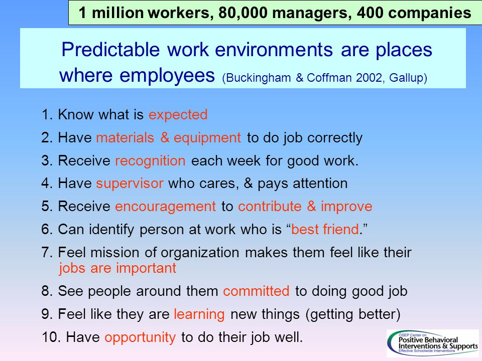 Predictable work environments are places where employees (Buckingham & Coffman 2002, Gallup) 1. Know what is expected 2. Have materials & equipment to