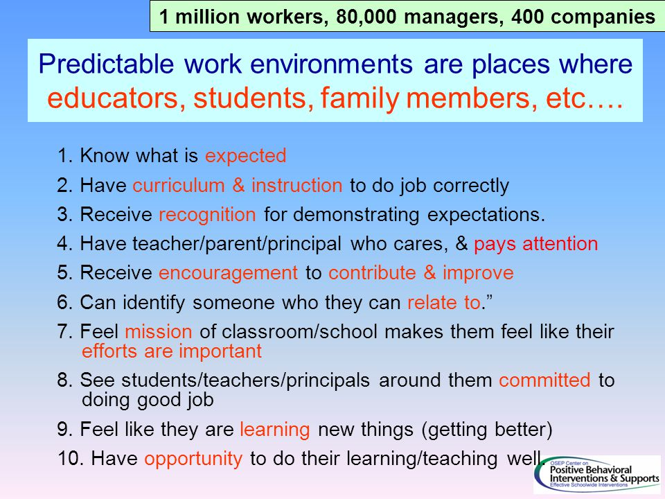 Predictable work environments are places where educators, students, family members, etc…. 1. Know what is expected 2. Have curriculum & instruction to