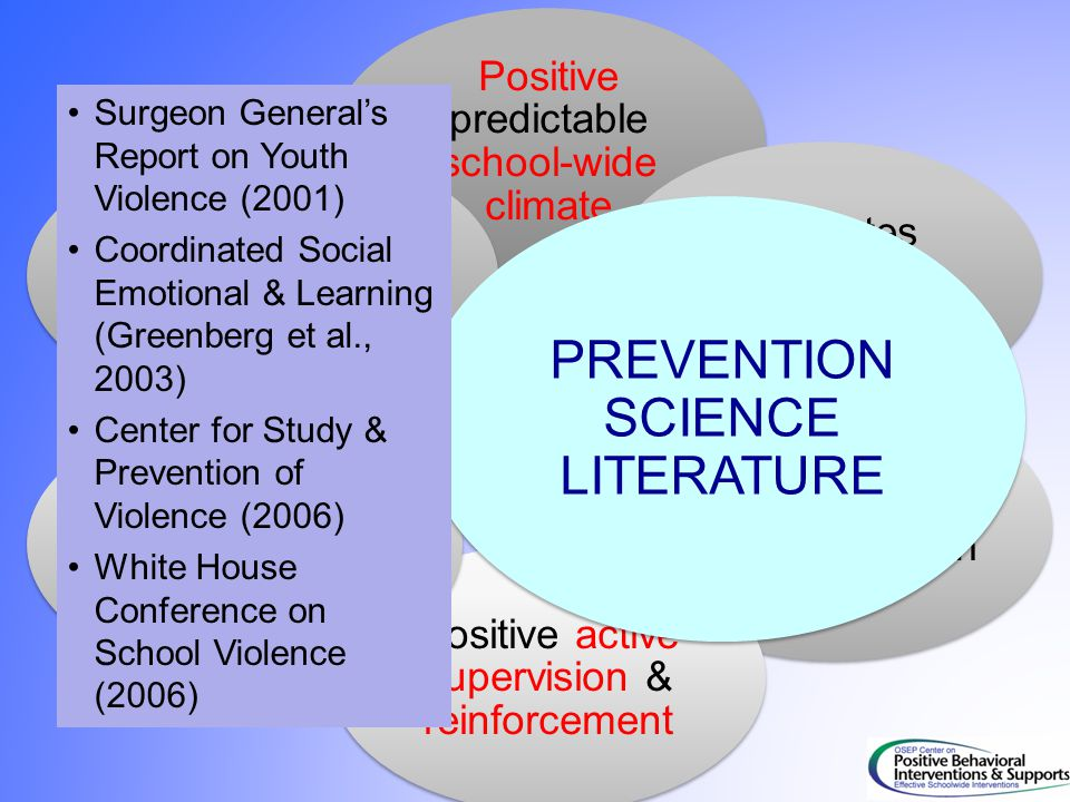 PREVENTION SCIENCE LITERATURE Surgeon General's Report on Youth Violence (2001) Coordinated Social Emotional & Learning (Greenberg et al., 2003) Cente