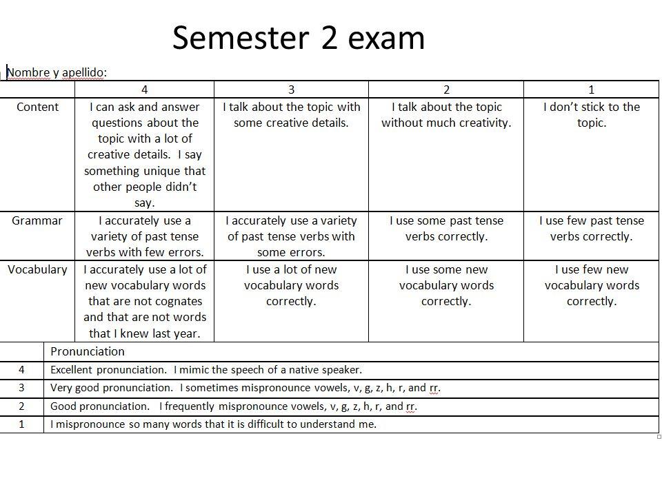 Semester 2 exam