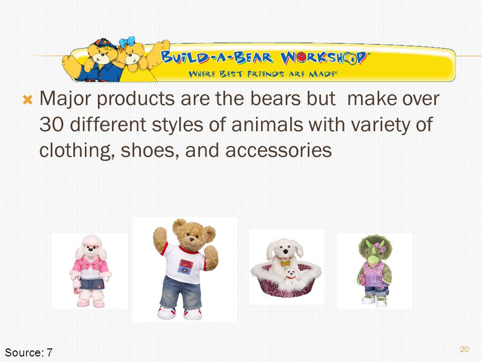  Major products are the bears but make over 30 different styles of animals with variety of clothing, shoes, and accessories 20 Source: 7
