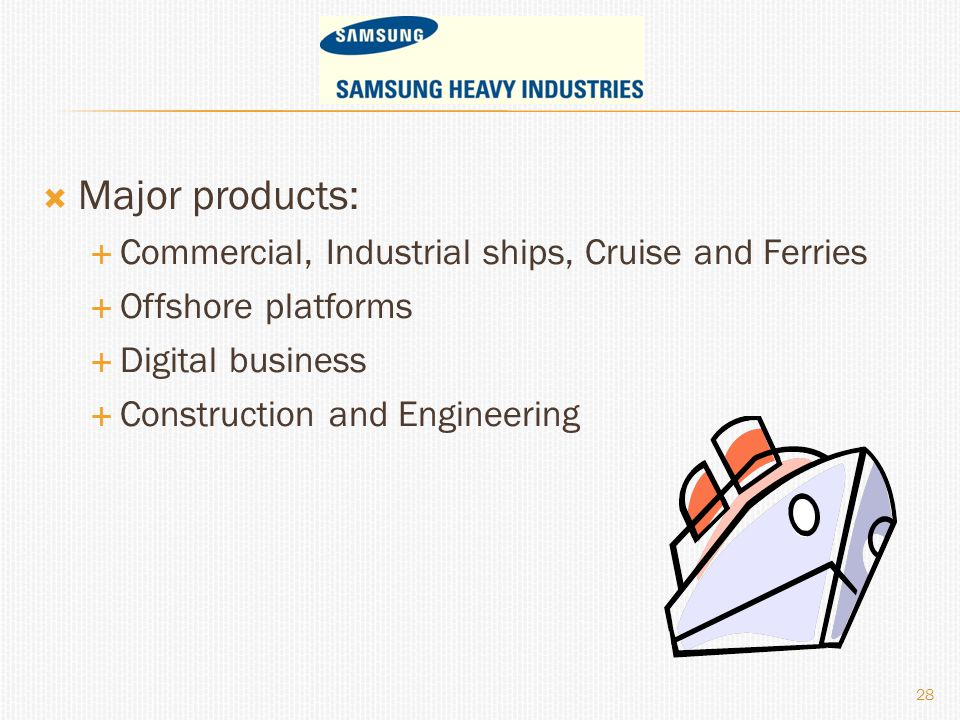  Major products:  Commercial, Industrial ships, Cruise and Ferries  Offshore platforms  Digital business  Construction and Engineering 28