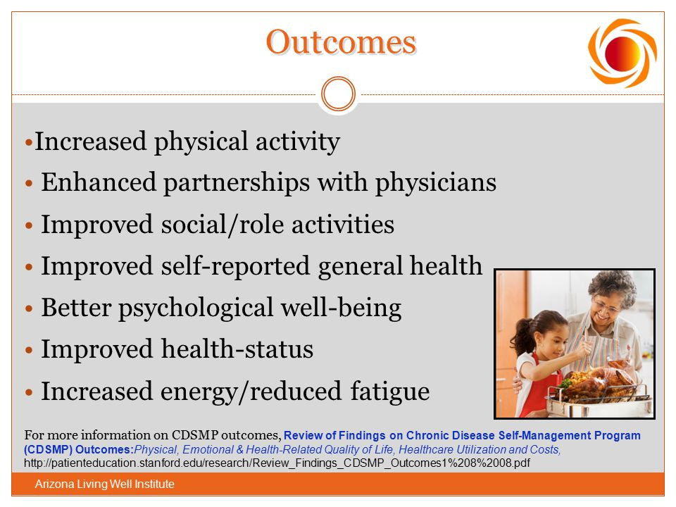 Increased physical activity Enhanced partnerships with physicians Improved social/role activities Improved self-reported general health Better psychol