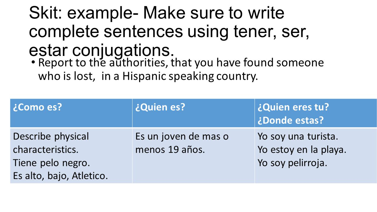 Skit: example- Make sure to write complete sentences using tener, ser, estar conjugations. Report to the authorities, that you have found someone who