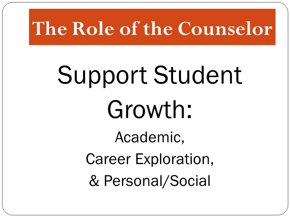 The Role of the Counselor Support Student Growth: Academic, Career Exploration, & Personal/Social