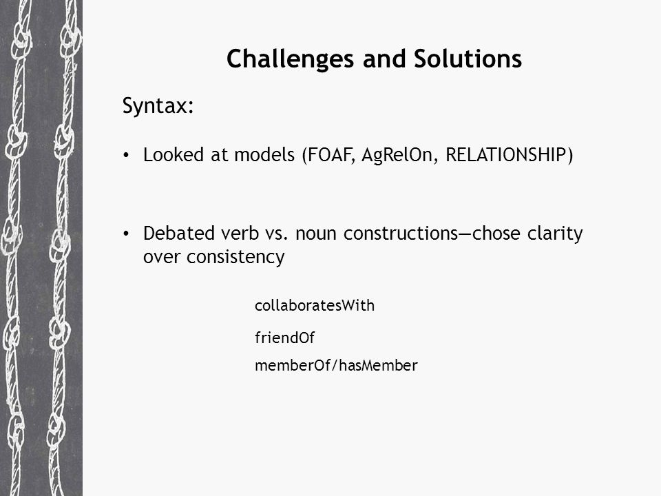Challenges and Solutions Syntax: Looked at models (FOAF, AgRelOn, RELATIONSHIP) Debated verb vs.