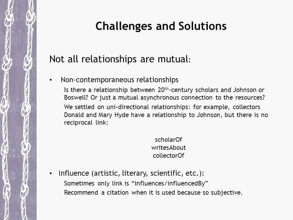 Challenges and Solutions Not all relationships are mutual : Non-contemporaneous relationships Is there a relationship between 20 th -century scholars and Johnson or Boswell.