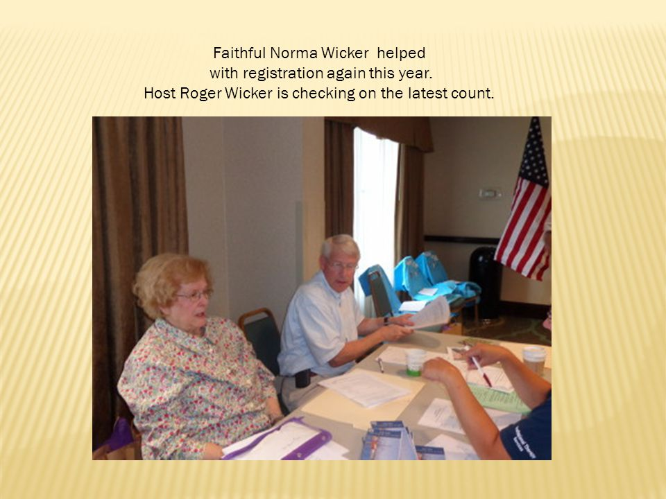 Faithful Norma Wicker helped with registration again this year.