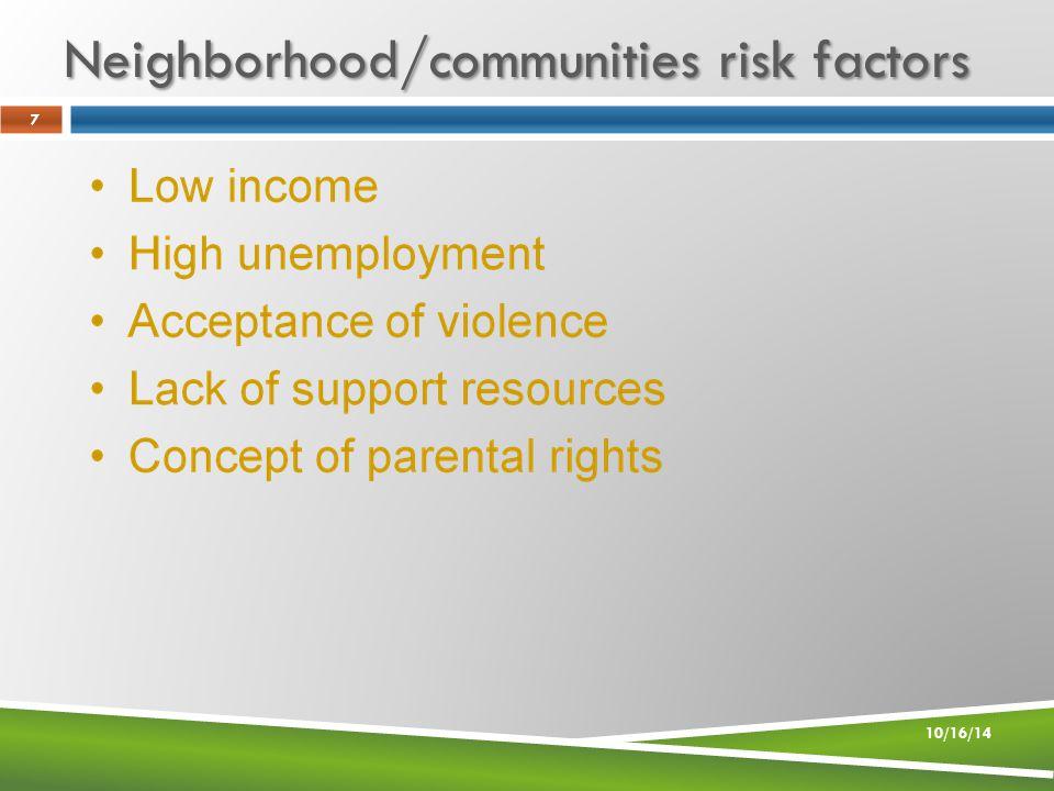 Neighborhood/communities risk factors 10/16/14 7