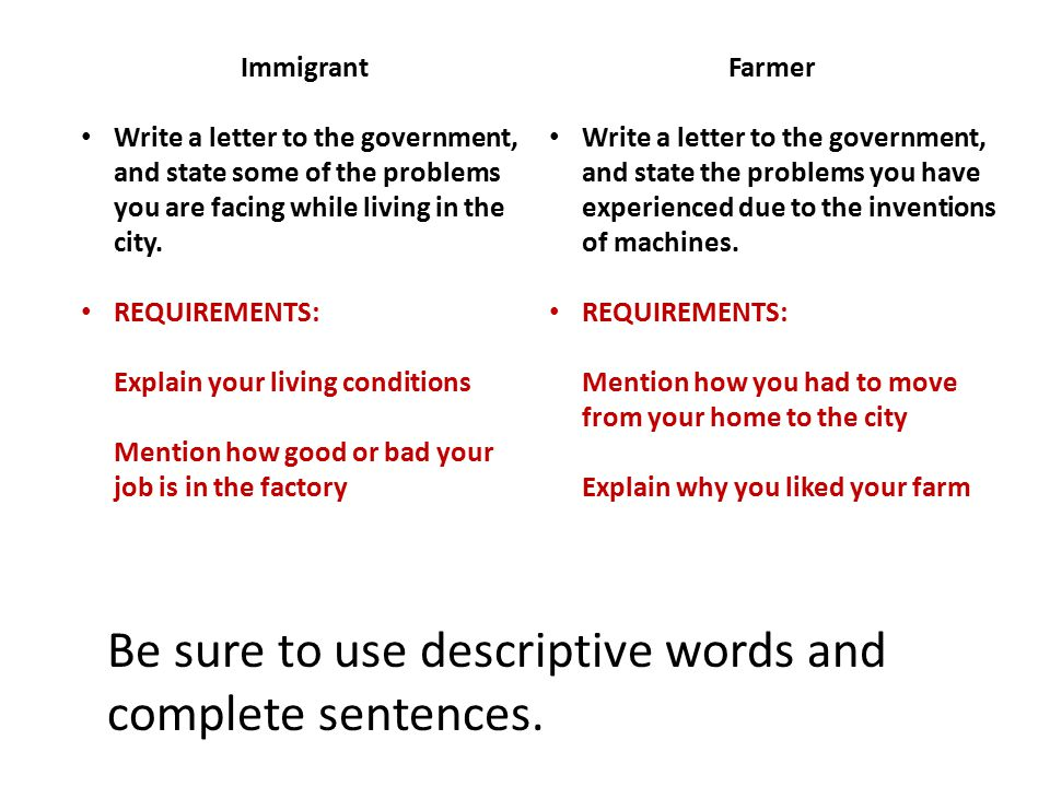 Immigrant Write a letter to the government, and state some of the problems you are facing while living in the city.