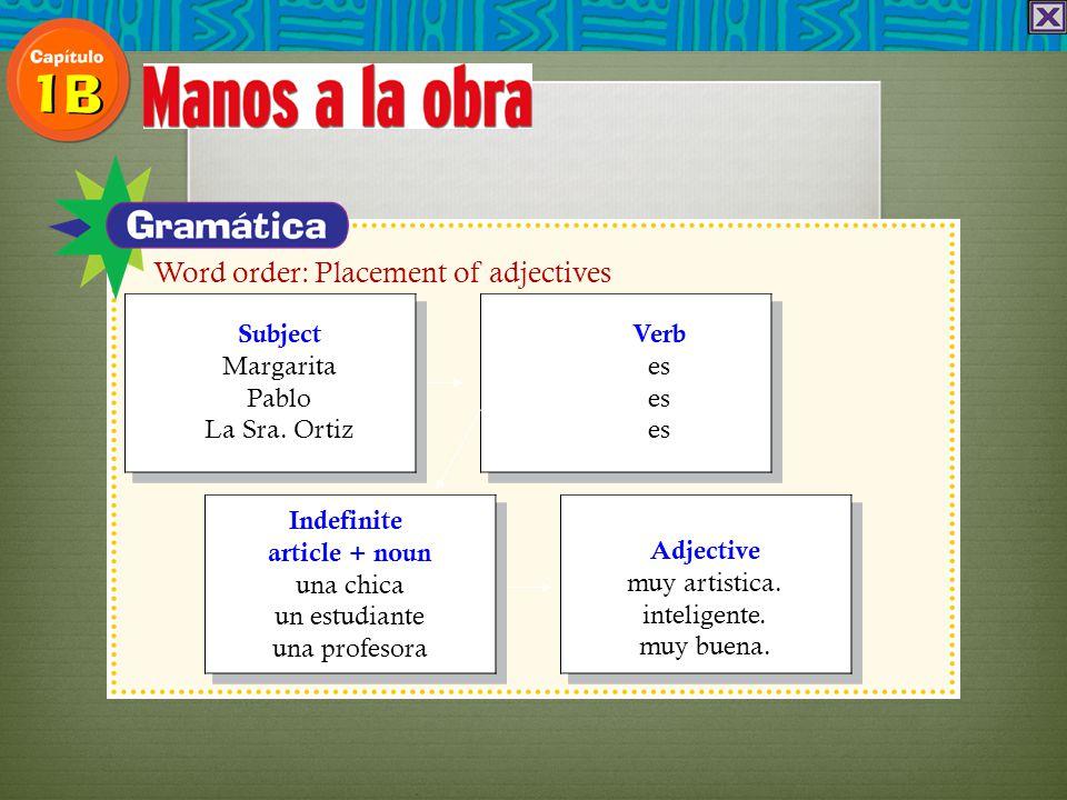 Subject Margarita Pablo La Sra. Ortiz Verb es es es Indefinite article + noun una chica un estudiante una profesora Adjective muy artistica. inteligen