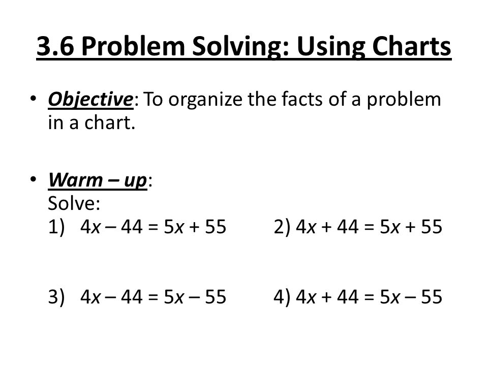 3.6 Problem Solving: Using Charts Objective: To organize the facts of a problem in a chart. Warm – up: Solve: 1) 4x – 44 = 5x + 552) 4x + 44 = 5x + 55