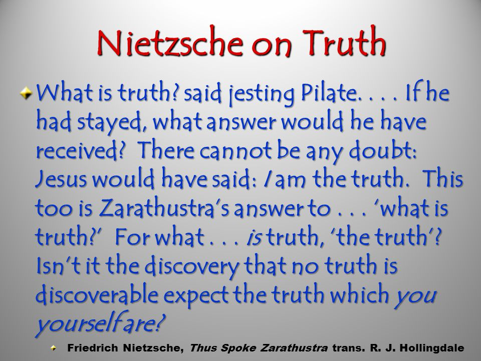 Nietzsche on God God is Dead. We have killed him.