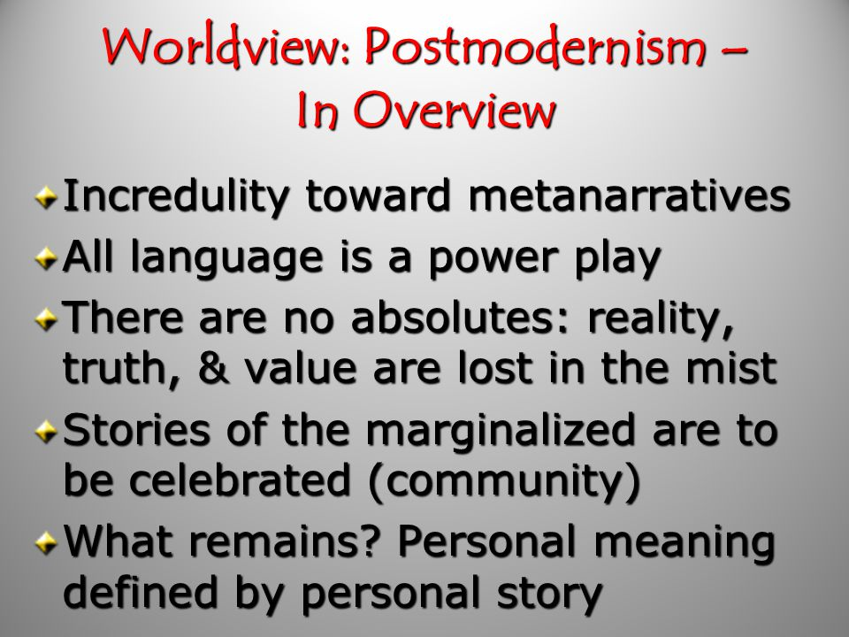 Worldview: Postmodernism – Is there a box .