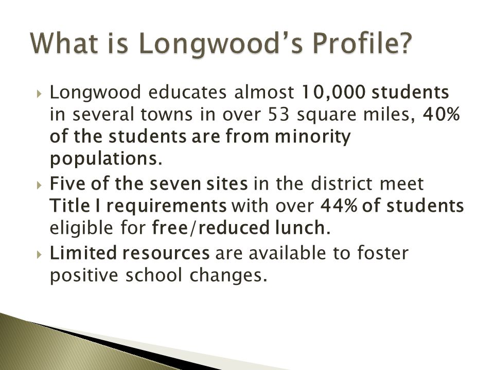  Longwood educates almost 10,000 students in several towns in over 53 square miles, 40% of the students are from minority populations.