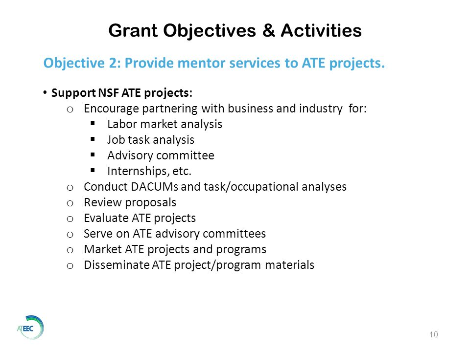 Grant Objectives & Activities 10 Objective 2: Provide mentor services to ATE projects.