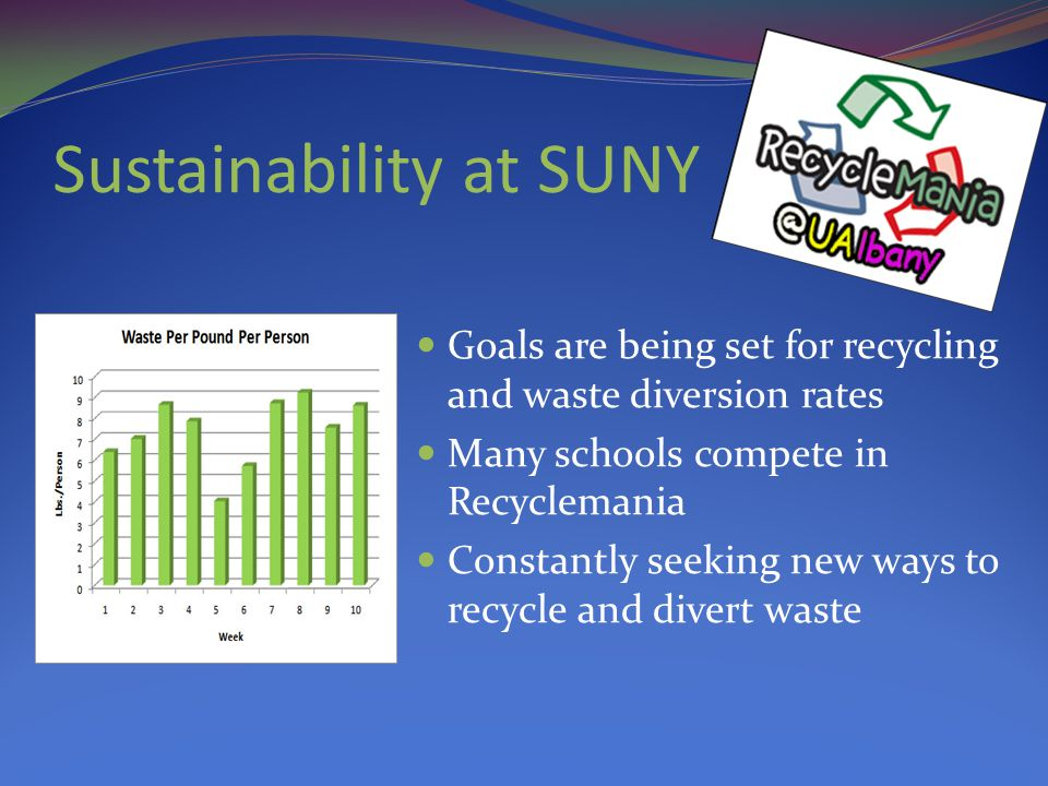 Recycling Programs Mixed Paper Commingled items (plastic, glass, aluminum) Metals Electronics C&D Tires, batteries, lights, ink jets, toners, cell phones UAlbany currently recycles the following materials: