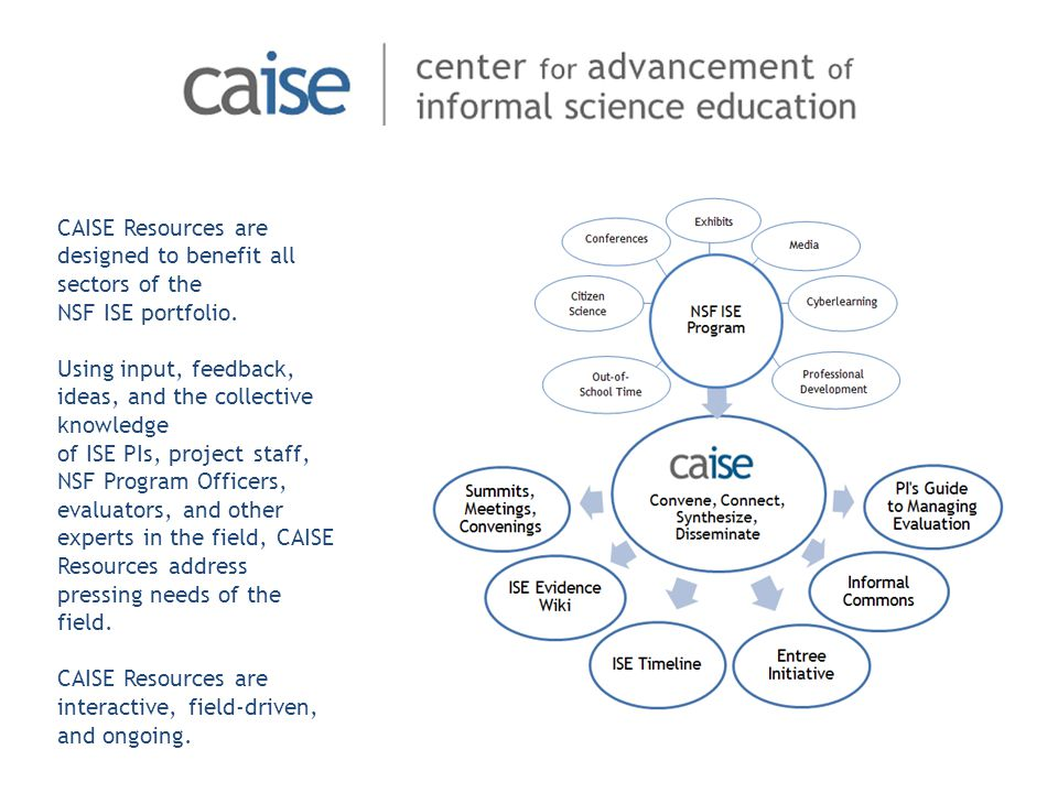 CAISE Resources are designed to benefit all sectors of the NSF ISE portfolio.