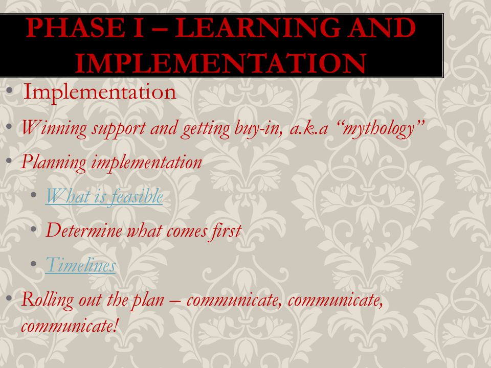 PHASE I – LEARNING AND IMPLEMENTATION Implementation Winning support and getting buy-in, a.k.a mythology Planning implementation What is feasible Determine what comes first Timelines Rolling out the plan – communicate, communicate, communicate!