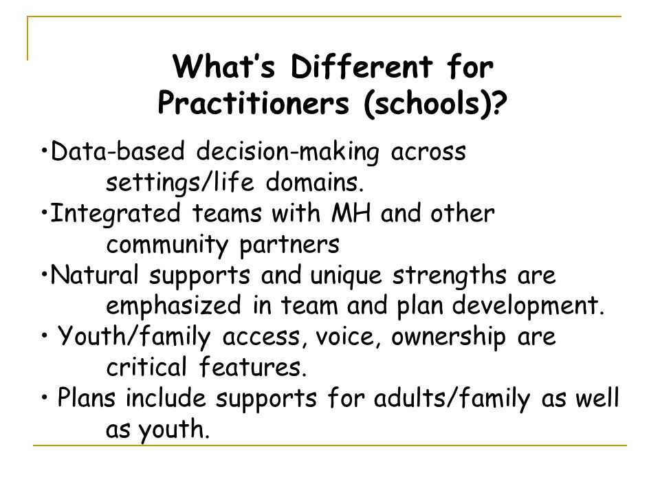 What's Different for Practitioners (schools).