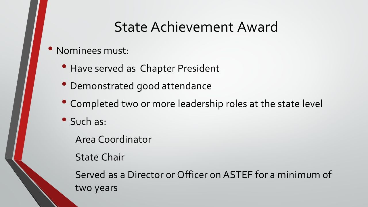 Golden Rose Award Nominees must: Be members who are not eligible for the State Achievement Award Have good attendance and participation at the chapter level Have given years of service at the state level through Workshop participation Committee work Attendance at Delta Kappa Gamma Conventions