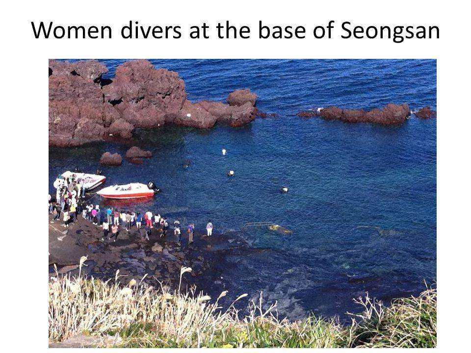 Women divers at the base of Seongsan