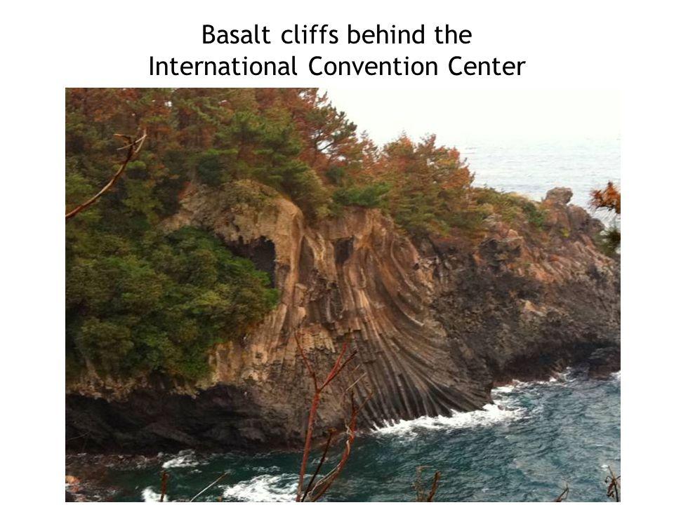 Basalt cliffs behind the International Convention Center