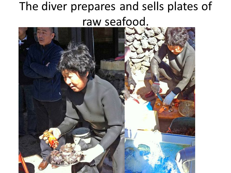 The diver prepares and sells plates of raw seafood.
