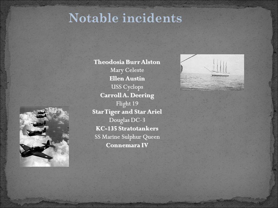 Notable incidents Theodosia Burr Alston Mary Celeste Ellen Austin USS Cyclops Carroll A.