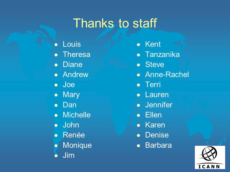 Thanks to staff l Louis l Theresa l Diane l Andrew l Joe l Mary l Dan l Michelle l John l Renée l Monique l Jim l Kent l Tanzanika l Steve l Anne-Rach