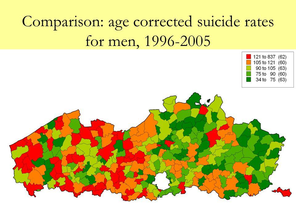 Comparison: age corrected suicide rates for men, 1996-2005