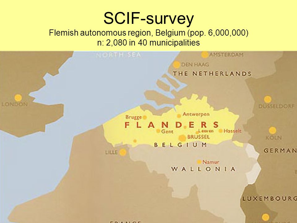 SCIF-survey Flemish autonomous region, Belgium (pop. 6,000,000) n: 2,080 in 40 municipalities