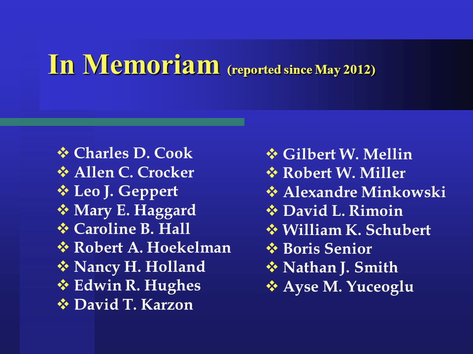 In Memoriam (reported since May 2012) In Memoriam (reported since May 2012)  Charles D.