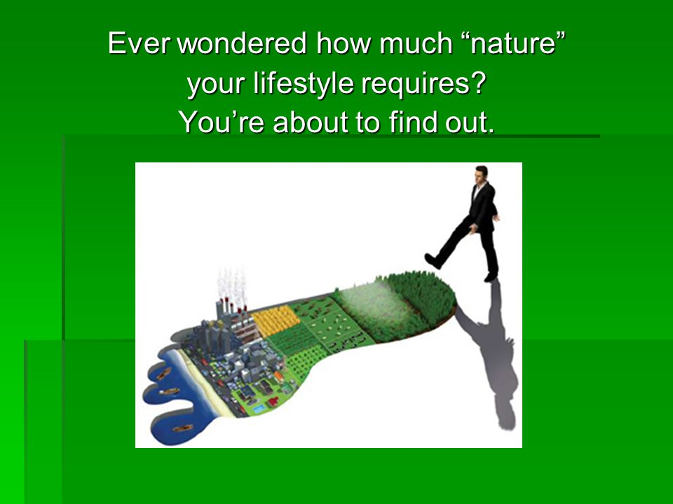 Ever wondered how much nature your lifestyle requires You're about to find out.