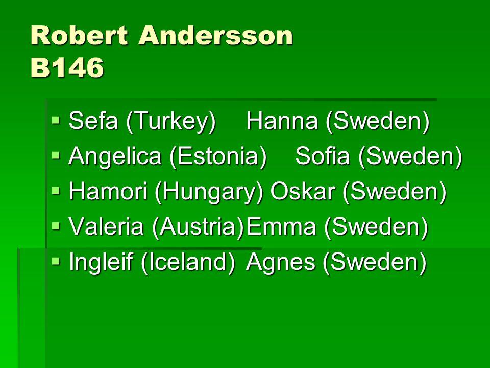 Robert Andersson B146  Sefa (Turkey)Hanna (Sweden)  Angelica (Estonia)Sofia (Sweden)  Hamori (Hungary) Oskar (Sweden)  Valeria (Austria)Emma (Sweden)  Ingleif (Iceland)Agnes (Sweden)