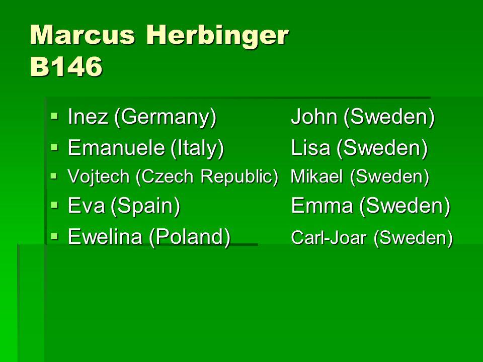Marcus Herbinger B146  Inez (Germany)John (Sweden)  Emanuele (Italy)Lisa (Sweden)  Vojtech (Czech Republic) Mikael (Sweden)  Eva (Spain)Emma (Sweden)  Ewelina (Poland) Carl-Joar (Sweden)