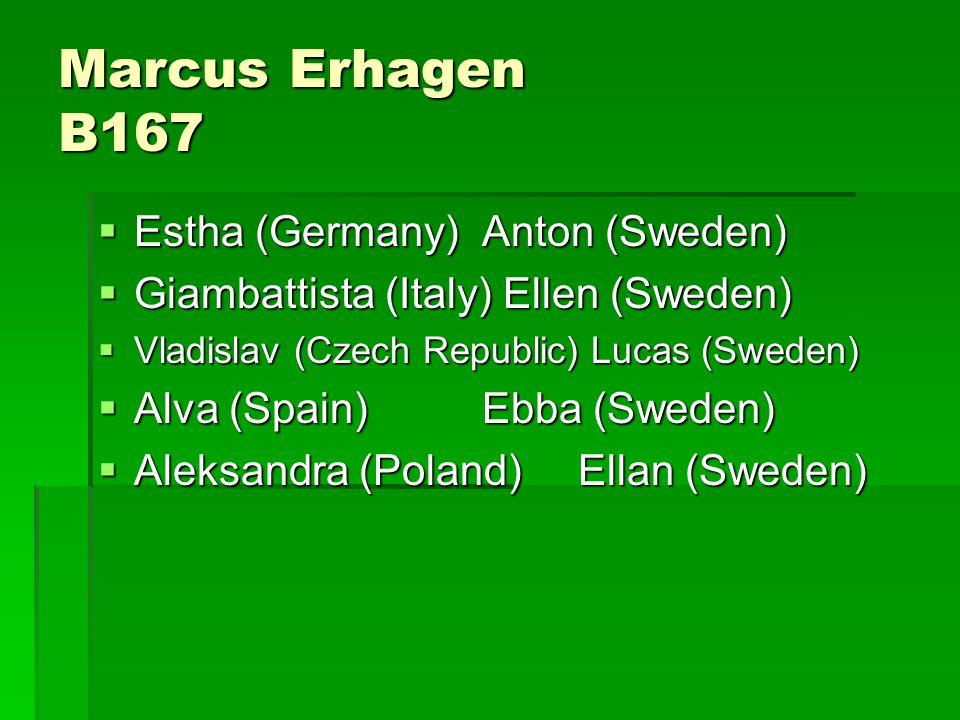 Marcus Erhagen B167  Estha (Germany)Anton (Sweden)  Giambattista (Italy) Ellen (Sweden)  Vladislav (Czech Republic) Lucas (Sweden)  Alva (Spain)Ebba (Sweden)  Aleksandra (Poland)Ellan (Sweden)